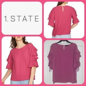1.STATE Ruffle Tie Sleeve Blouse